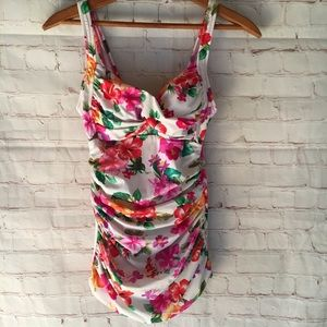 Bright floral one piece ruched side bathing suit